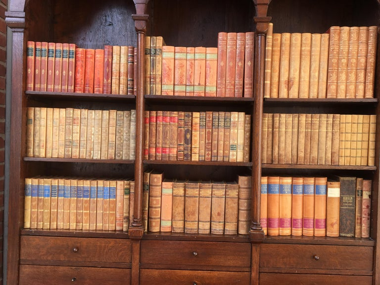 Decorative Collection of 124 Swedish Vintage Leather-Bound Books For Sale 12