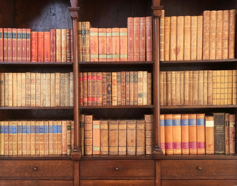 Decorative Collection of 124 Swedish Vintage Leather-Bound Books In Good Condition For Sale In Haddonfield, NJ