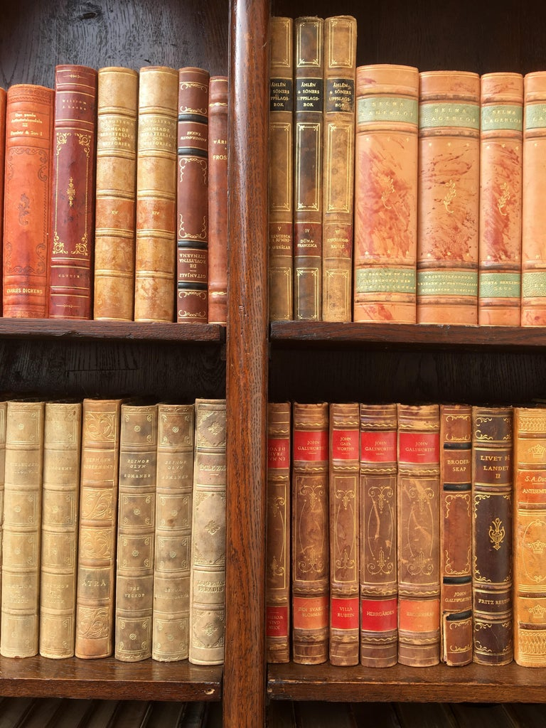 20th Century Decorative Collection of 124 Swedish Vintage Leather-Bound Books For Sale