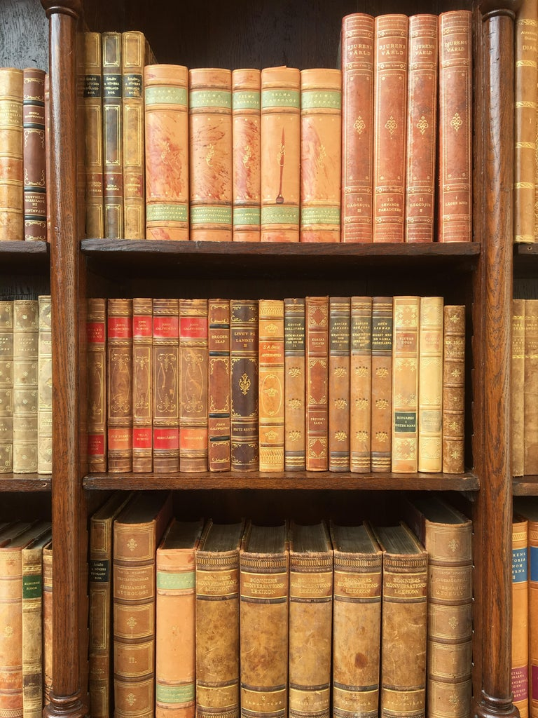 Decorative Collection of 124 Swedish Vintage Leather-Bound Books For Sale 1