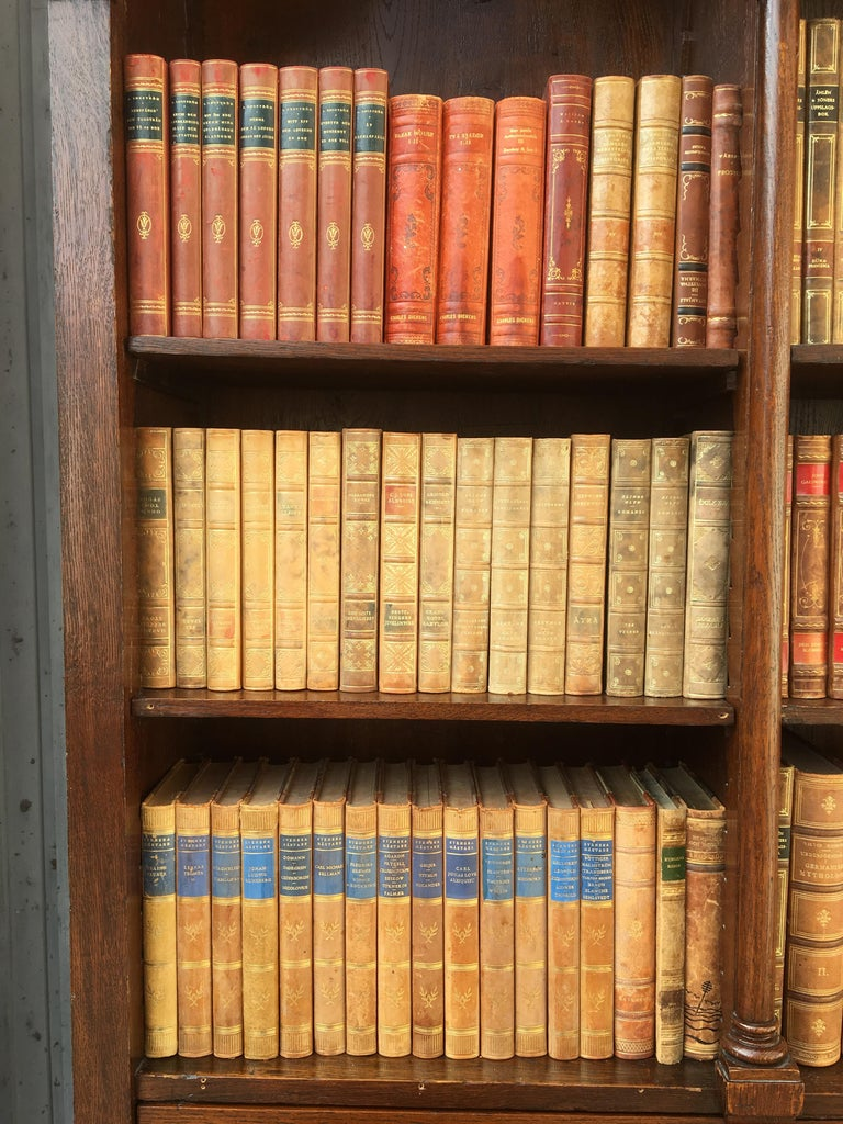 Decorative Collection of 124 Swedish Vintage Leather-Bound Books For Sale 2