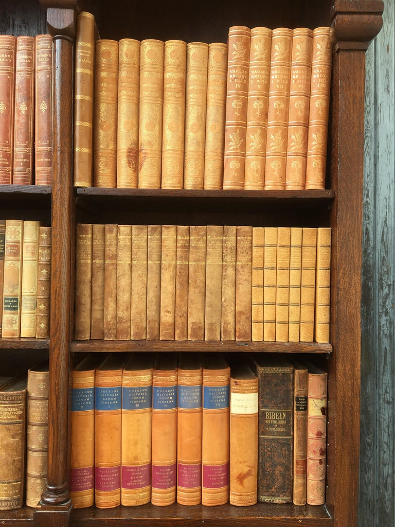 Decorative Collection of 124 Swedish Vintage Leather-Bound Books For Sale 3