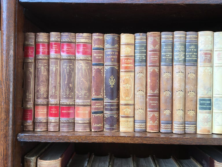Decorative Collection of 124 Swedish Vintage Leather-Bound Books For Sale 4