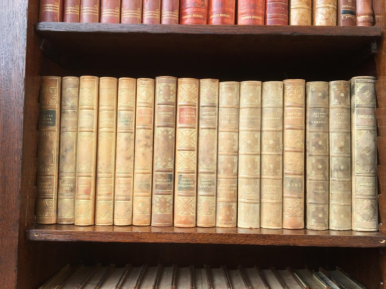 Decorative Collection of 124 Swedish Vintage Leather-Bound Books For Sale 5