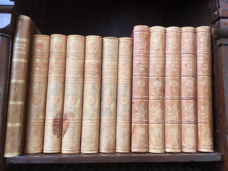 Decorative Collection of 124 Swedish Vintage Leather-Bound Books For Sale 6