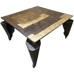 Jean-Jaques Argueyrolles  Contemporary  Iron and Gold Leaf French Table