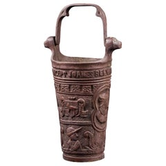 Decorative Copper Alloy Pot with Relief and a Handle