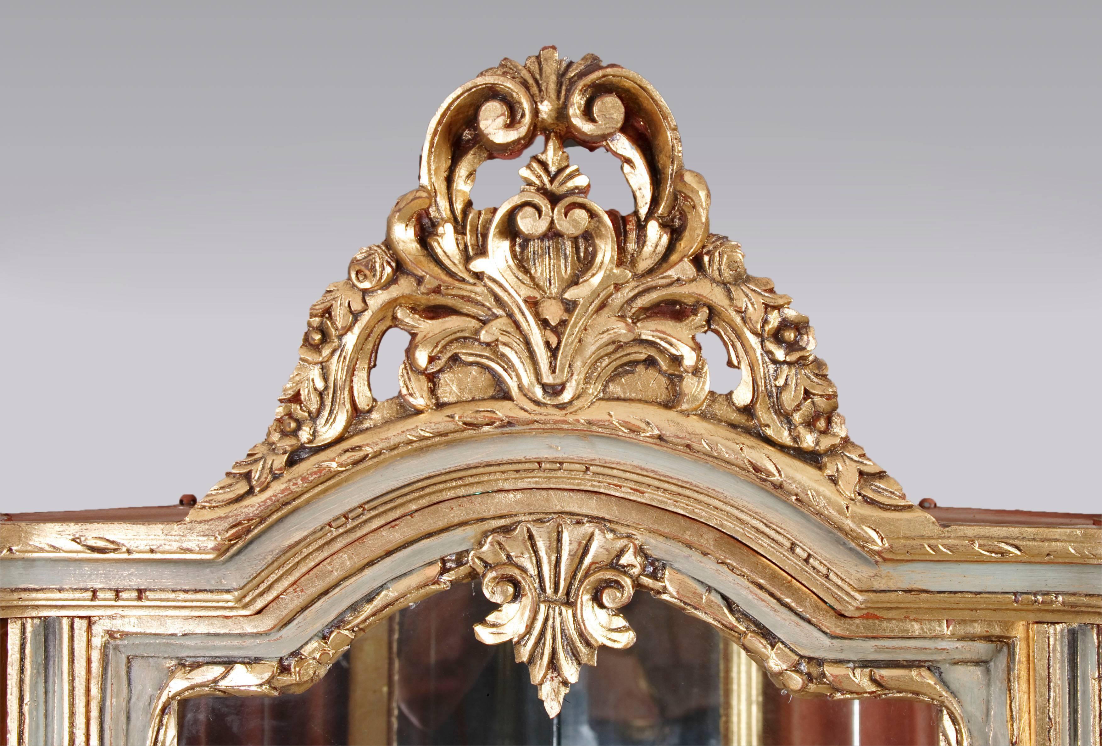 Decorative Corner Vitrine In The Style Of Louis Xvi