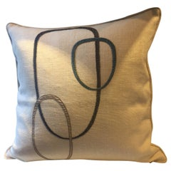 Decorative Cushion Linen Color Oyster with Contemporary Design Hand Embroidery