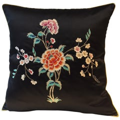Decorative Cushion Silk Black with Chinese Inspired Floral Hand Embroidery