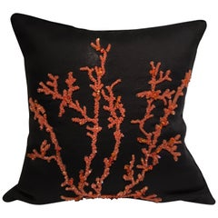 Decorative Cushion Silk Black with Coral-Red Coral Design Hand Embroidery