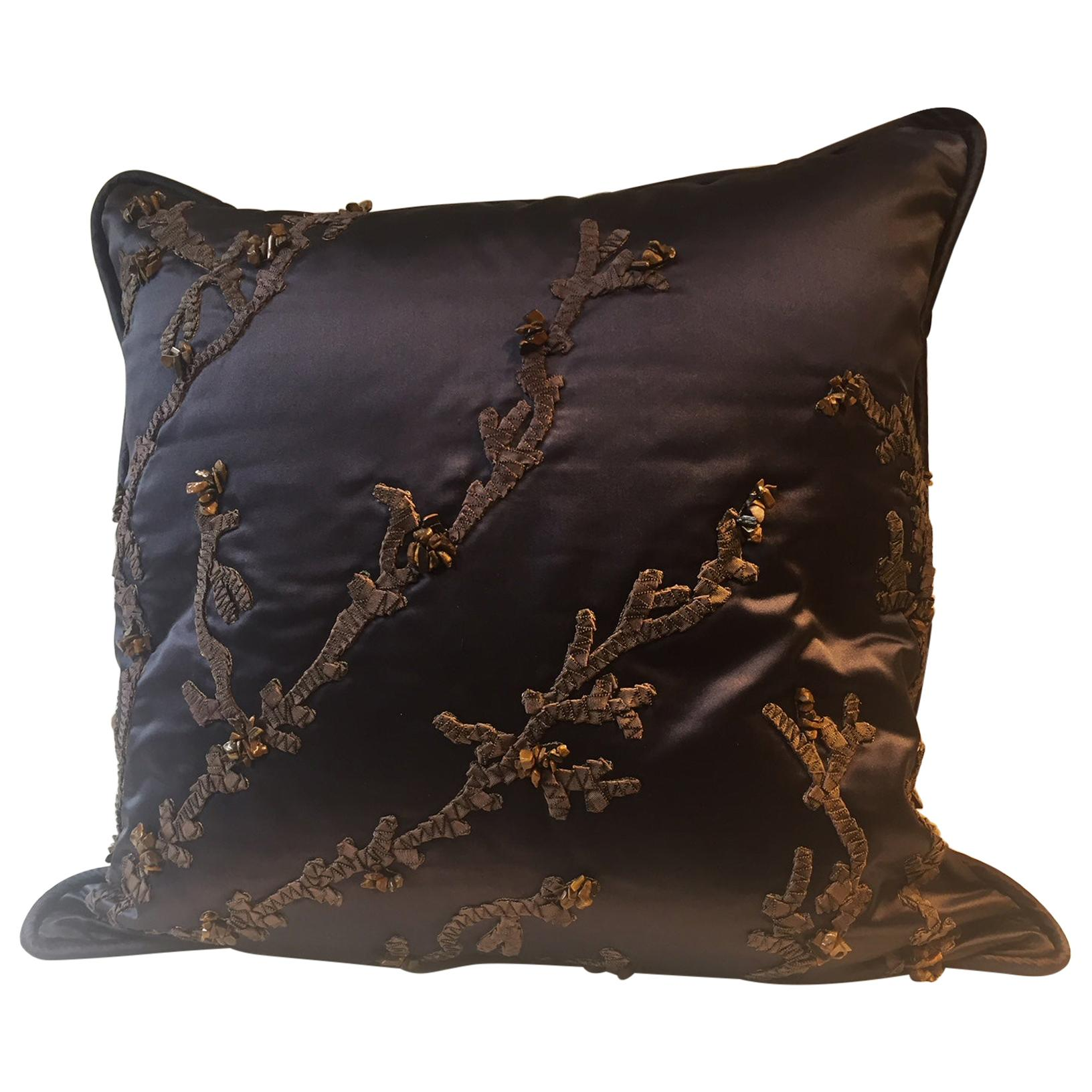 Decorative Cushion Silk Dark Blue with Coral Ribbon Hand Embroidery