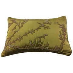 Decorative Cushion Silk Ginger and Coral Design Hand Embroidery