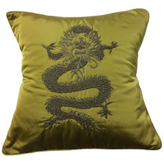 Decorative Cushion Silk Ginger with Dragon Design Hand Embroidery