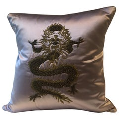 Decorative Cushion Silk Lilac with Dragon Design Hand Embroidery
