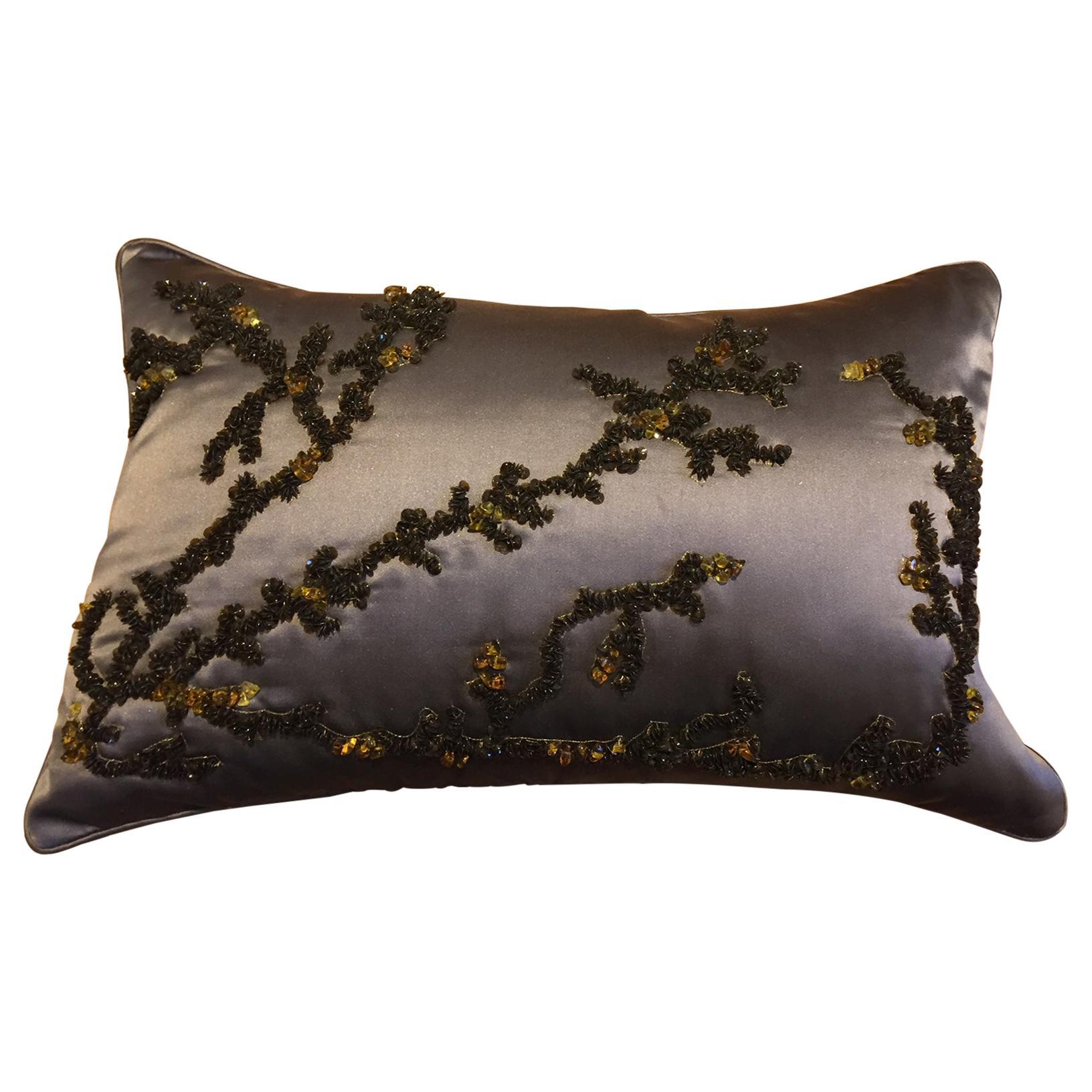 Hand Embroidered Coral Design Decorative Cushion Silk Satin Brown