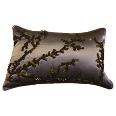 Hand Embroidered Coral Design Decorative Cushion Silk Satin Brown
