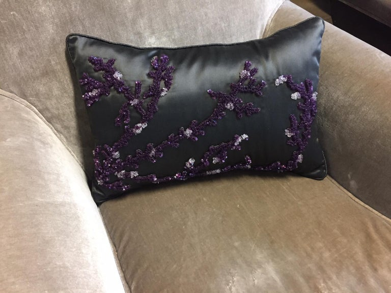 Cushion silk satin col. khaki with coral design hand embroidery col. purple sequins and semi-precious stone, size: 30 cm x 45 cm, cushion cover with cotton lining, feather inner 100% new goose feathers.
