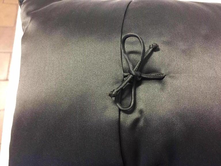 Decorative Cushion Silk Satin Khaki and Purple Coral Design Hand Embroidery In New Condition For Sale In Hamburg, DE