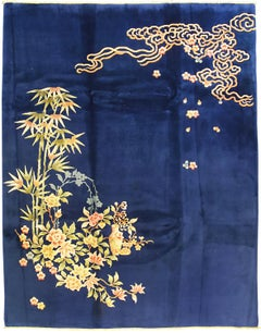Decorative Deep Blue Field Antique Chinese Nichols Wool Carpet, ca. 1920