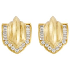 Decorative Diamond Clip-On Earrings