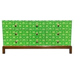 Decorative Dresser, Hand Painted, Brass, Cabinet, Hollywood Regency, Green