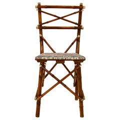 Decorative Early 20th Century Bamboo Chair, Upholstery, Austria, 1910s
