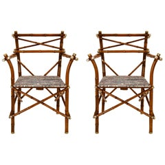 Decorative Early 20th Century Bamboo Pair of Armchair, Upholstery, Austria 1910s