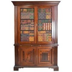Decorative Faux Bookcase Cabinet in 2 Parts, Assembled from Antique Elements
