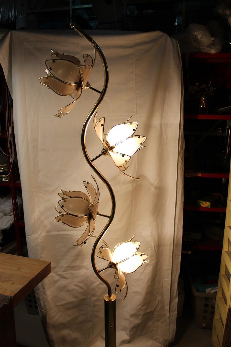 Decorative Floor Lamp Lotus Flower Italian Design Gold Metal Crystal 1970s For Sale At 1stdibs