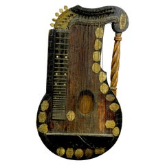 Decorative Folk Art Zither Made of Matchsticks
