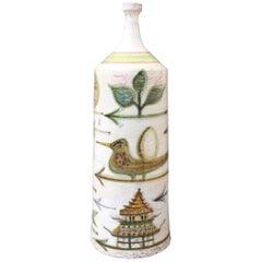 Decorative French Ceramic Bottle-Shaped Vase by David Sol, circa 1950s