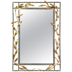 Decorative Gilt Leaf and Faux Bamboo Mirror