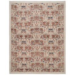 Decorative Hand Knotted Rug in Camel with Blue and Rust Accent