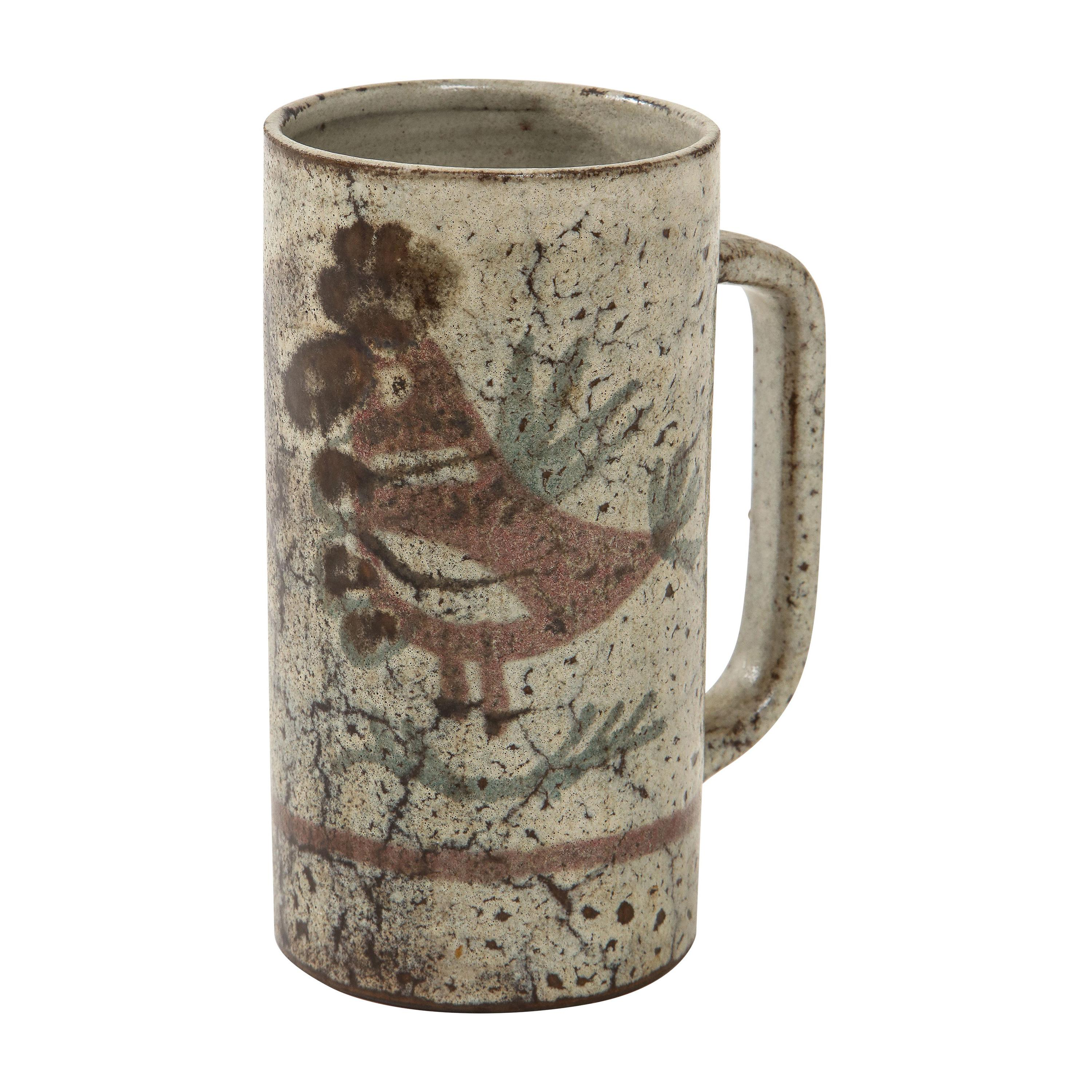 Decorative Hand-Painted Ceramic Jug by Gustave Raynaud, Vallauris, France, 1960