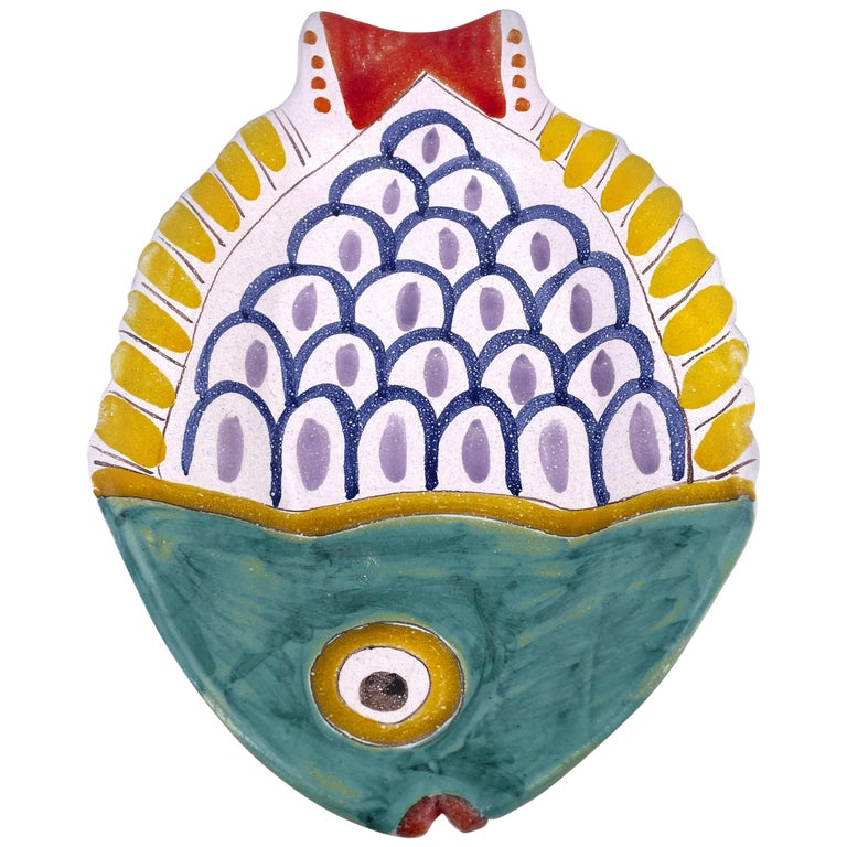 Decorative Hand Painted Italian Ceramic Fish Serving Plater by DeSimone For Sale