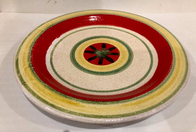 Beautiful design on this ceramic plate, highly collectible plate by DeSimone, circa 1960s, made in Italy, great condition no chips or cracks very light wear. Signed and numbered.