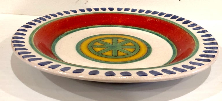 Mid-Century Modern Decorative Hand Painted Italian Ceramic Plate by DeSimone For Sale