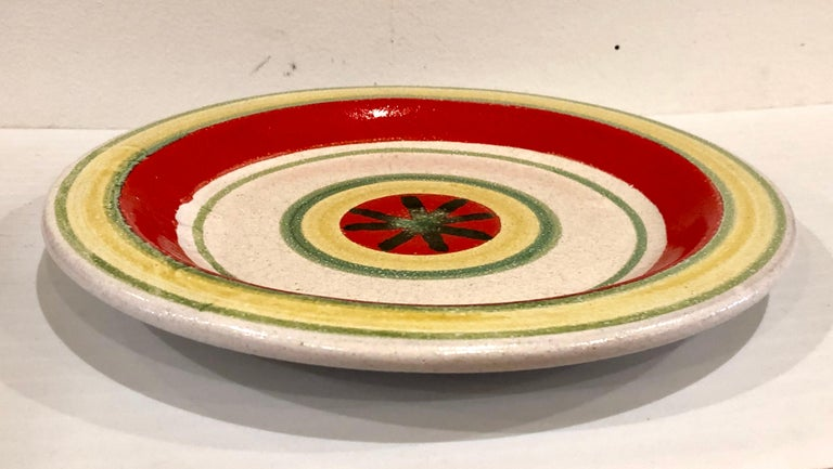 Decorative Hand Painted Italian Ceramic Plate by DeSimone In Good Condition For Sale In San Diego, CA