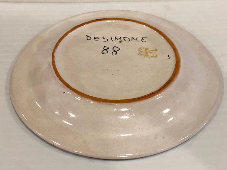 Decorative Hand Painted Italian Ceramic Plate by DeSimone In Excellent Condition For Sale In San Diego, CA