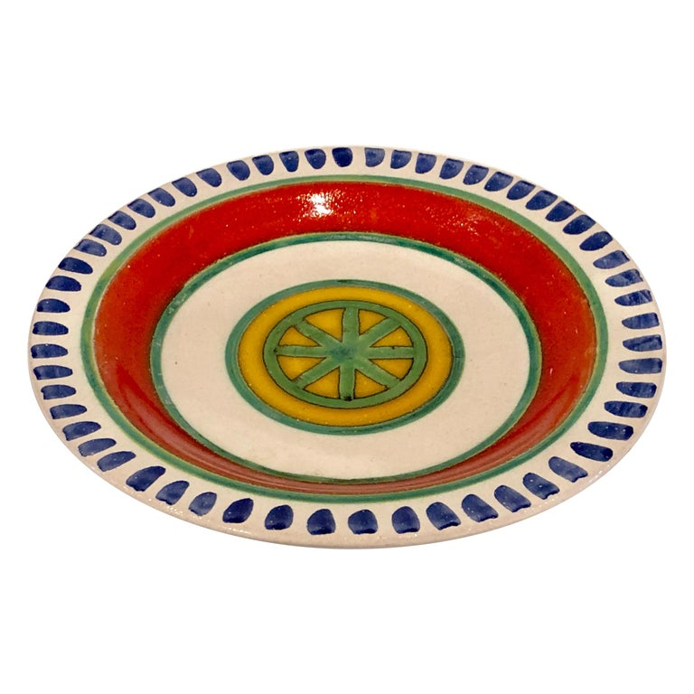 Decorative Hand Painted Italian Ceramic Plate by DeSimone For Sale