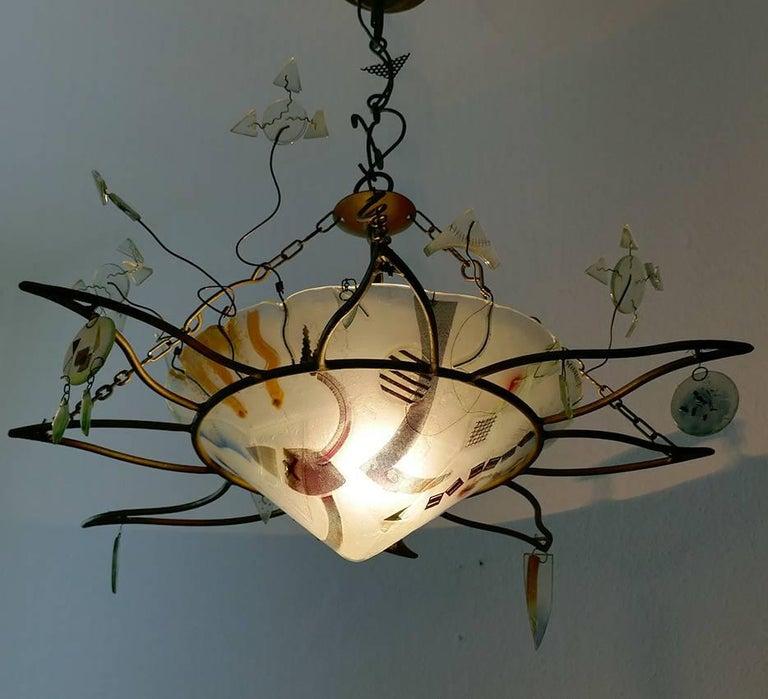 Dekorativer Handgefertigter Glas Kronleuchter von Peter Mangan 2