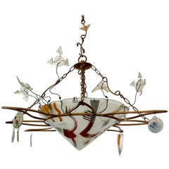 Decorative Handmade Glass Ceiling Light Pendant Chandelier by Peter Mangan