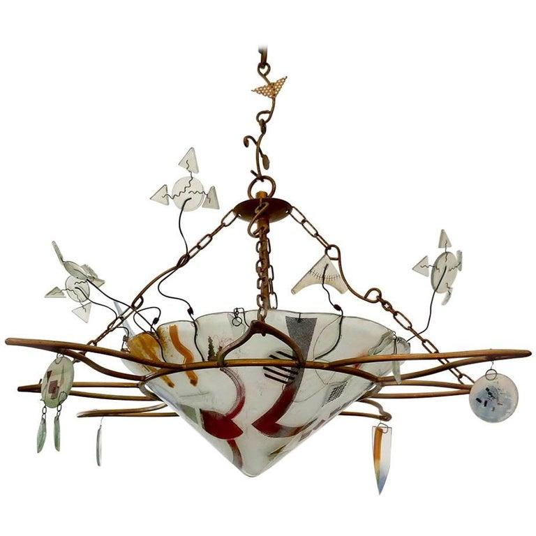 Dekorativer Handgefertigter Glas Kronleuchter von Peter Mangan 1