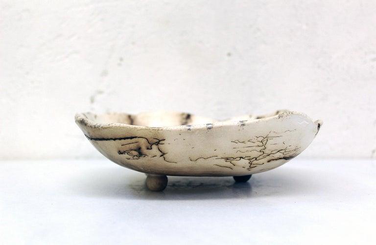 Decorative Horsehair Raku Ceramic Dish by Minh Singer 4