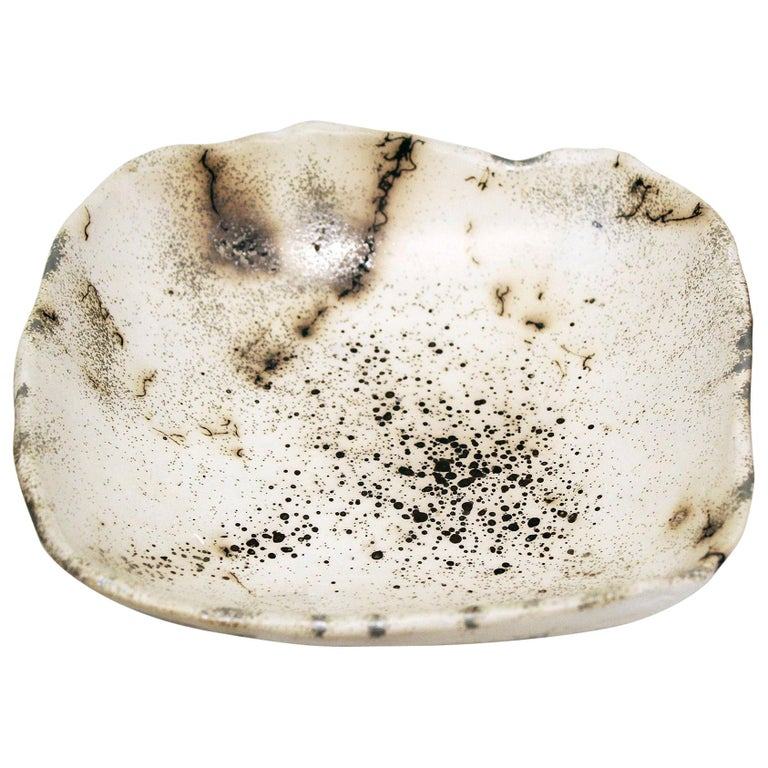 Decorative Horsehair Raku Ceramic Dish by Minh Singer 1