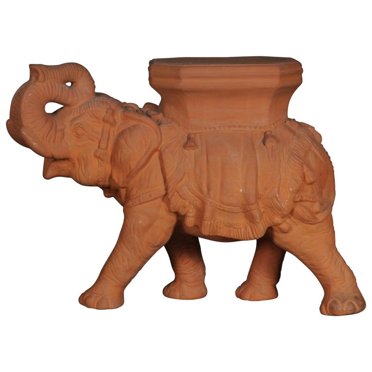 Decorative Indian Elephant Terracotta Stand Bench Side