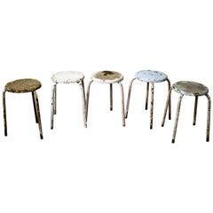 Decorative Industrial Stools Set of Five, 1960s