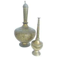 Decorative Islamic Brass North Africa Incense Burner and Rosewater Sprinkler
