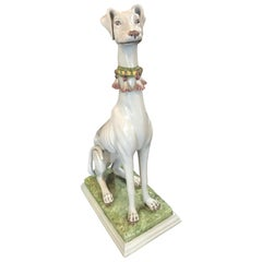 Decorative Italian Glazed Porcelain Whippet
